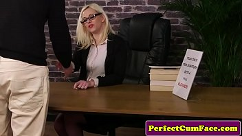 pornky Spex Britt wanks cock and cleans facial load
