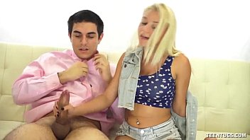 naughtynightlover Super Cute Teen Hanjob On The Couch