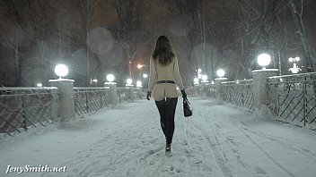 naughtyelle Jeny Smith naked in snow fall walking through the city