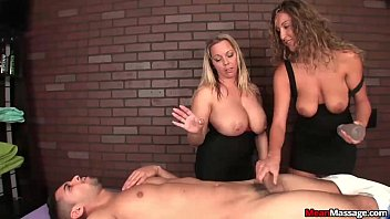 jizzle com Two bossy ladies tag-team a poor young man